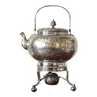 Victorian Silver plate Anglo/Indioan Tea Kettle with stand and burner by Henry Fielding of Birmingham