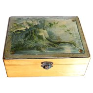 Victorian English Sycamore Wood Mauchlin box with Woodland Transfer Ware Scene