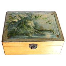 Victorian English Sycamore Wood Mauchlin box with Woodland Transfer Ware Scene