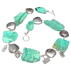 Chrysocolla Slices, Silver Panels, Vintage Chinese Charms