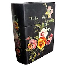 Victorian Papier Mache Letter Box with Hand Painted Pansies