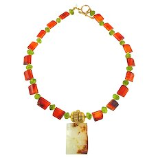 Vintage White Nephrite Jade with Plant on Carnelian, Peridot, 18 K Gold