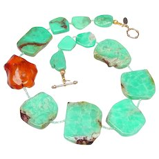 Natural Slices of  Chrysoprase with Natural Baltic Amber