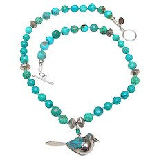 Tibetan Sterling Silver Bird inlaid with Turquoise on a Necklace of Natural Chinese Turquoise and Woven Sterling Silver