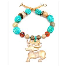 Vintage jade Stag on Turquoise,  Jade, Carnelian, Chinese Coins