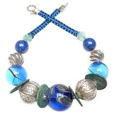 Statement Necklace of Rare Venetian Glass, Woven Sterling Silver, Natural Lapis and Chinese Bronzed Coins