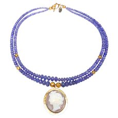 9 Carat Gold Cameo on Double Strand of Tanzanite and 18 Carat Gold