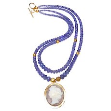 Victorian 9K Gold Cameo on Double Strand of Tanzanite, and  18K Gold