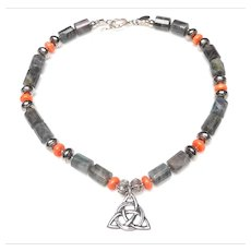 Sterling Silver Celtic Knot on Labradorite,  Coral,  Sterling Silver