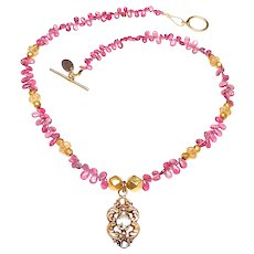 Old 14K Gold and Citrine Pendant on Necklace of Natural Pink Tourmaline, Carved Citrine and 18K Gold