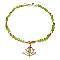 Art Nouveau 15K Gold Ruby, Peridot, Pearl Pendant on Peridot, Rubies Pearl Necklace