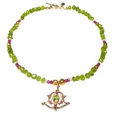 Art Nouveau 15K Gold Ruby, Peridot, Pearl Pendant on Peridot, Rubies Pearl Necklace