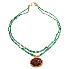 Vintage 18K Gold Carnelian Intaglio on Two Strand  Columbian Emeralds
