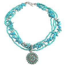 Signed Zuni Sterling Silver and Turquoise pendant on Three Strand Necklace of Natural, Stabilized Turquoise and Sterling Silver