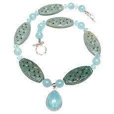 Natural Aquamarine Pendant with Carved Natural Jaspers and Natural Aquamarines