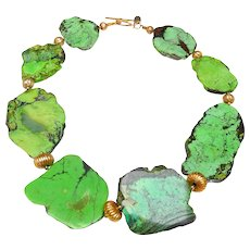 Natural, Rare Green Turquoise Slices Interspersed with 18K Gold