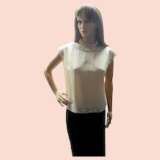Vintage Swiss Silk and Lace Embroidered Cream Blouse, 1960's