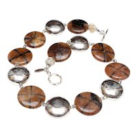 Crossed Stone Chiastolite with Sterling Silver Discs