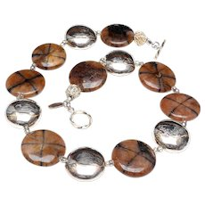 Natural Crossed Stone Chiastolite Discs with Sterling Silver Discs