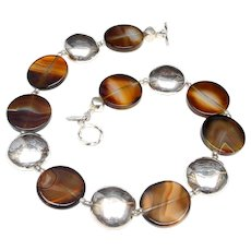 Necklace of Natural Agate Discs with Sterling Silver Discs