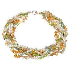 Seven Strand  Cultured  Pearls,  Citrine, Peridot, Aventurine, Jasper