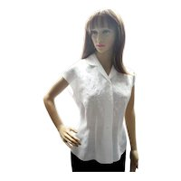 Vintage Chinese White Linen, Hand Embroidered Blouse, 1970's