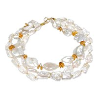 Three Strand Cultured, White, Baroque Pearls, Vermeil Discs