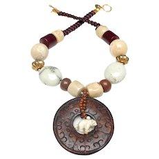 Brown Jade Disc,  Bone Polar Bear, Coral, Magnesite, Wood, Vintage Vermeil