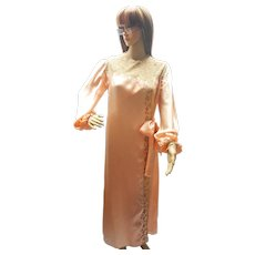 Vintage French, 1920's Peach Silk and Lace Peignoir