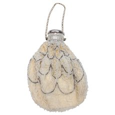 Antique Belgian, 1920's Beaded and Silver-Plated Evening Bag