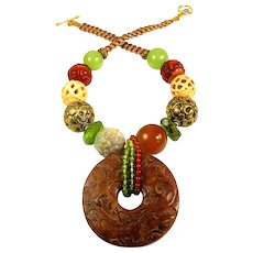 Rust Toned Nephrite Jade with Necklace of Peridot, Carnelian, and Tibetan Brass