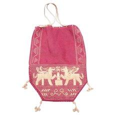 Vintage Embroidered Linen Drawstring Evening Bag