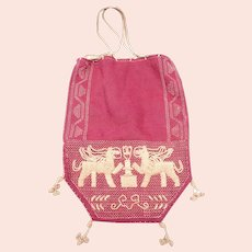 Vintage Embroidered Linen Drawstring Evening Bag