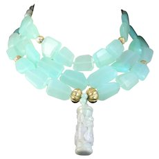 Statement Necklace of Three Strands of Heat Treated Chalcedony Enriched by  Jadeite Dragon Cylinder