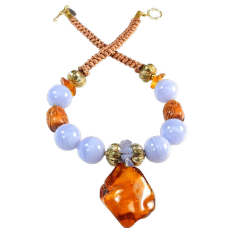 Natural Amber on Necklace of Natural Blue Lace Agate and Carved Owls