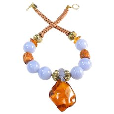 Natural Amber on Necklace of  Blue Lace Agate and Carved Owls