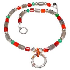 Victorian Celtic Sterling Silver, Inlaid Agates on  Carnelian, Labradorite , Chrysoprase,  Sterling Silver