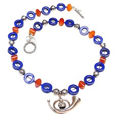 Old Sterling Silver Hunting Horn on Necklace of Natural Lapis, Carnelian and Navajo Silver