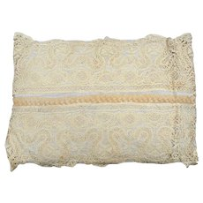 Vintage 1920's Boudoir/Ring Pillow in Antique Lace Covering Grey Moiré Silk Taffeta