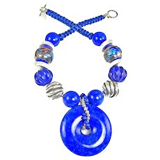 Lapis Bi Disc Necklace with Silver, Lapis and Chinese Enamel