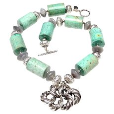 Old Sterling Silver Knot Pendant Graces a Necklace of Natural Chrysocolla, Agate and Silver