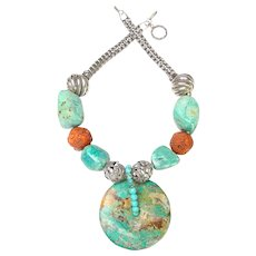 Turquoise Bi Disc on Necklace of Chrysocolla, Silver Ojime and Knotted Cord