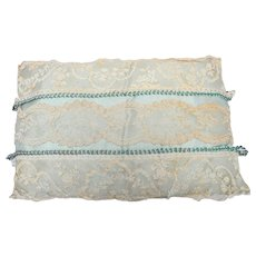 Vintage  French 1920's Boudoir/Ring Pillow with Antique Lace Covering Satin Silk