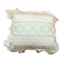 Vintage 1920's Boudoir/Ring Pillow in Antique Crocheted Lace Covering Satin Silk