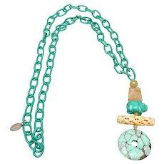Vintage Turquoise Disc,  Bone, Howlite Pig,  Vintage Jade on Silk Chain