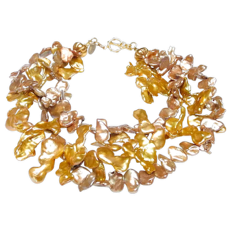 Three Strands of Large, Golden, Cultured Keshi Pearls