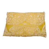 Vintage 1920's Boudoir/Ring Pillow in Antique Lace Covering Yellow Satin Silk