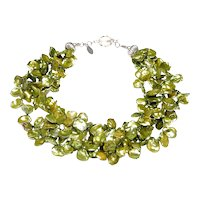 Three Strands of Lime Cultured Keshi Pearls