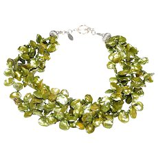 Three Strand Necklace of Lime Green Keshi Pearls