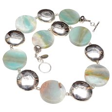 Necklace of Natural Blue/Green Amazonite Discs with Sterling Silver Discs